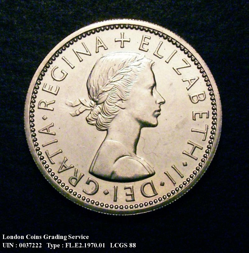 Florin 1970 Elizabeth II. Dies 1B. Second A of GRATIA points to a space. Proof - Obverse