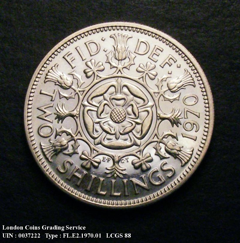 Florin 1970 Elizabeth II. Dies 1B. Second A of GRATIA points to a space. Proof - Reverse