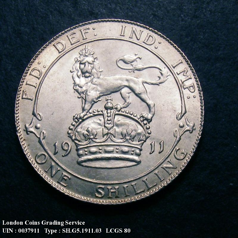 Shilling 1911 George V. dies 2A. Obverse: I of GEORGIVS to bead  shallow neck - Reverse