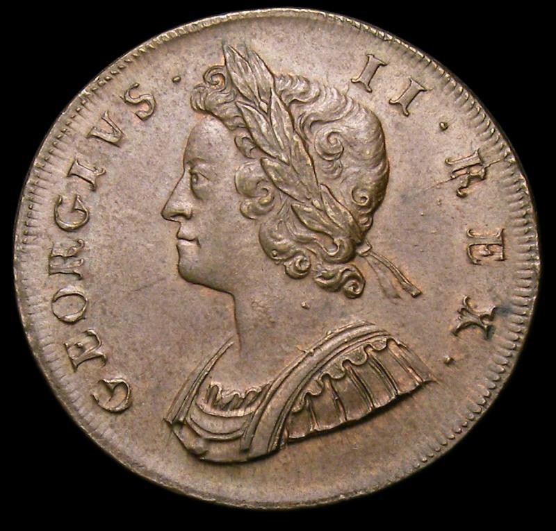 Halfpenny 1729 George II. Standard type - Obverse