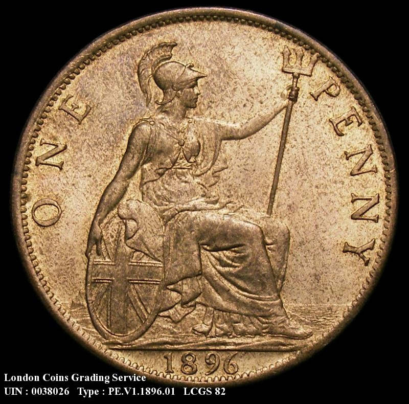 Penny 1896 Victoria. dies 1+B close 96 Note : 10 teeth from the foot of the 1 to the centre of the 6 - Reverse