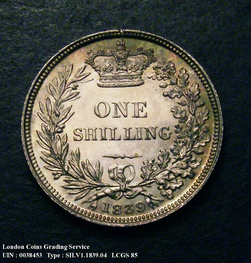 Shilling 1839 Victoria. Second Young Head. No WW - Reverse