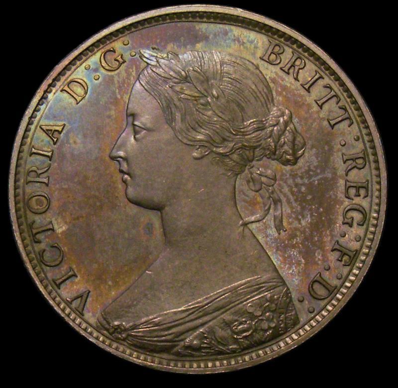 Halfpenny 1868 Victoria. Dies 7+G Bronze Proof - Obverse
