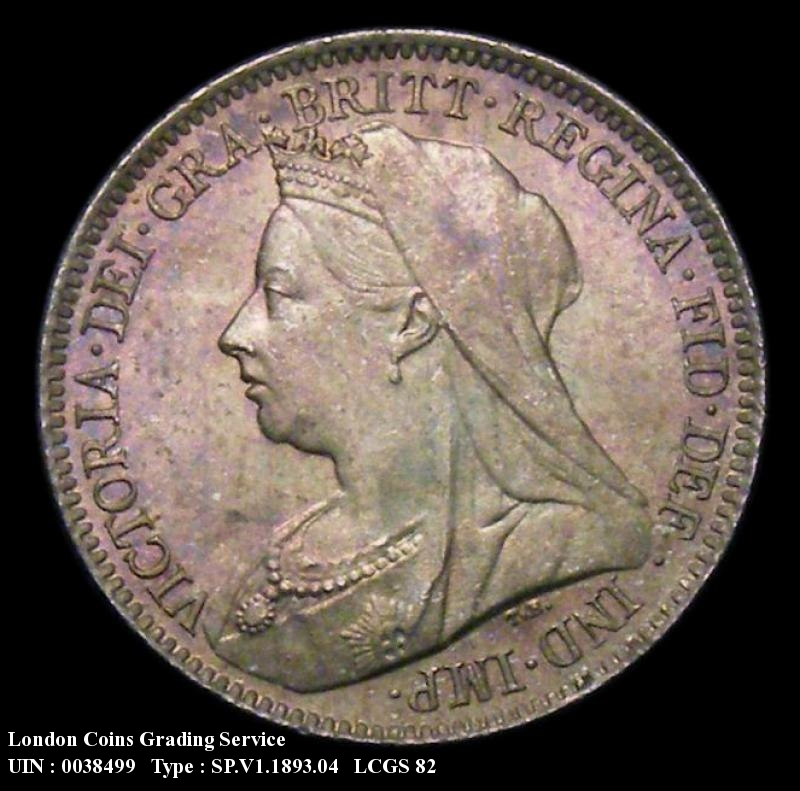 Sixpence 1893 Victoria. Veiled Head dies 2A  Obverse first I of VICTORIA points to a border tooth. - Obverse