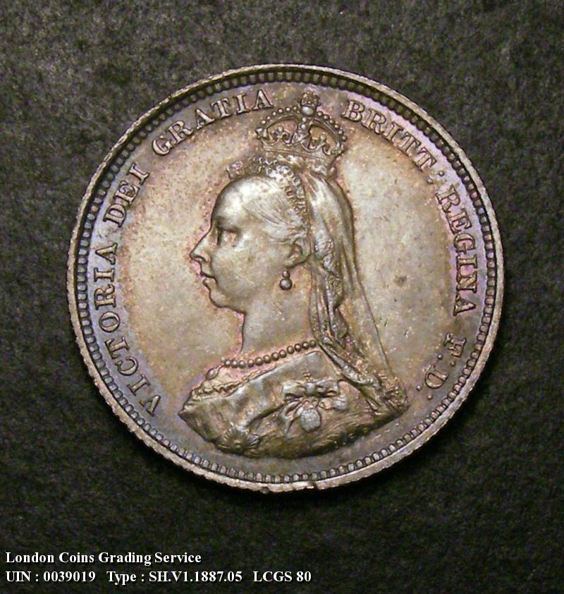 Shilling 1887 Victoria. Jubilee Head  Dies 1B Q of QUI has almost no tail - Obverse