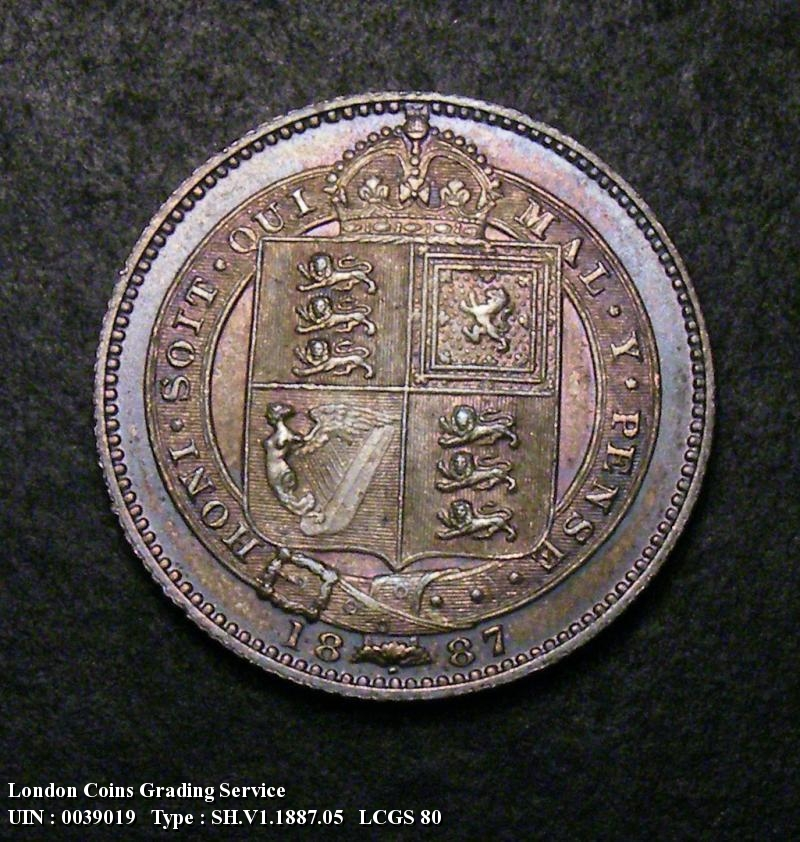 Shilling 1887 Victoria. Jubilee Head  Dies 1B Q of QUI has almost no tail - Reverse