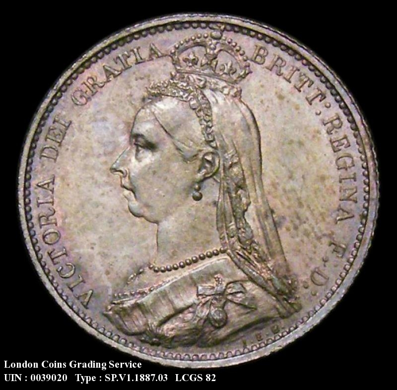 Sixpence 1887 Victoria. Jubilee Head Withdrawn type - Obverse