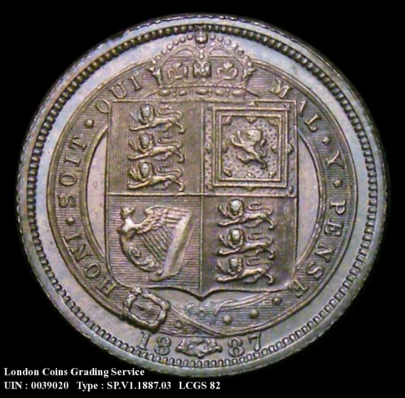 Sixpence 1887 Victoria. Jubilee Head Withdrawn type - Reverse