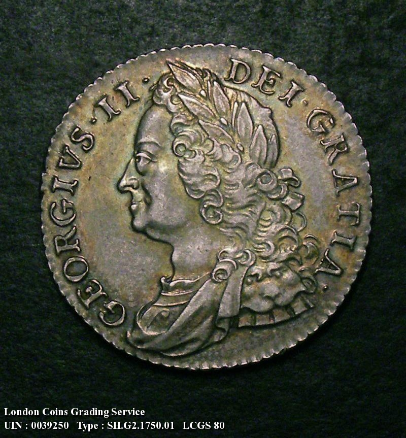 Shilling 1750 George II. Thin 0 in Date - Obverse