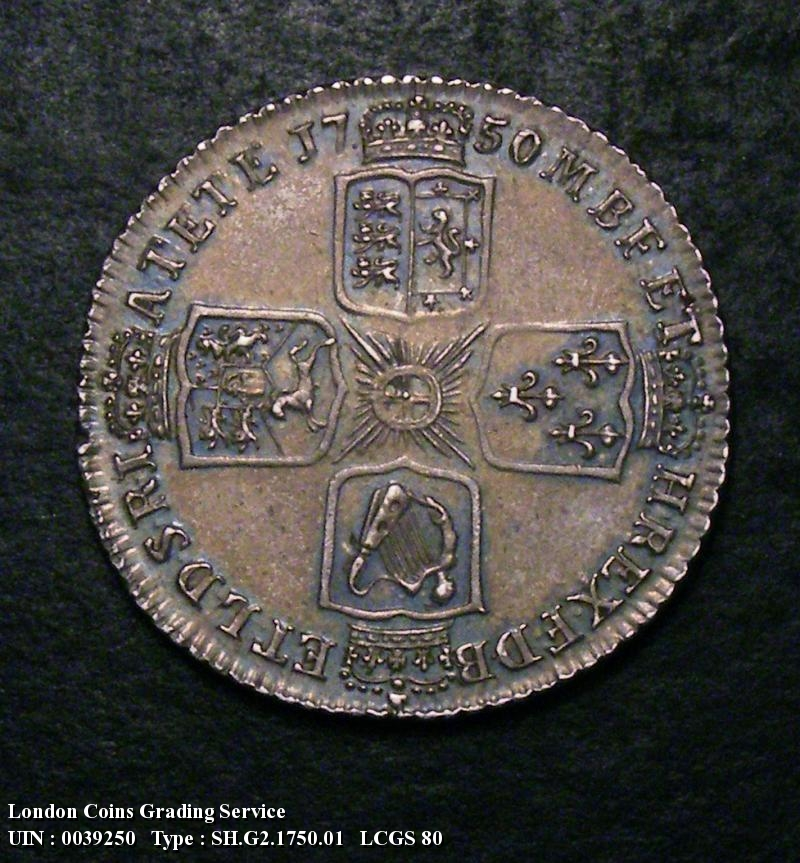 Shilling 1750 George II. Thin 0 in Date - Reverse