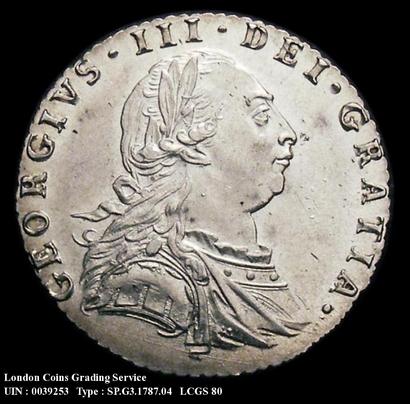 Sixpence 1787 George III. Hearts - Obverse