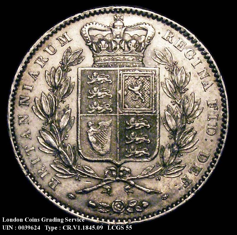 Crown 1845 Victoria. Young Head. VIII edge.