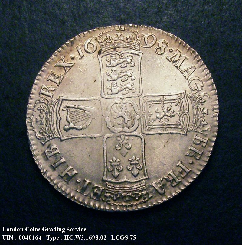 Halfcrown 1698 William III. DECIMO edge - Reverse