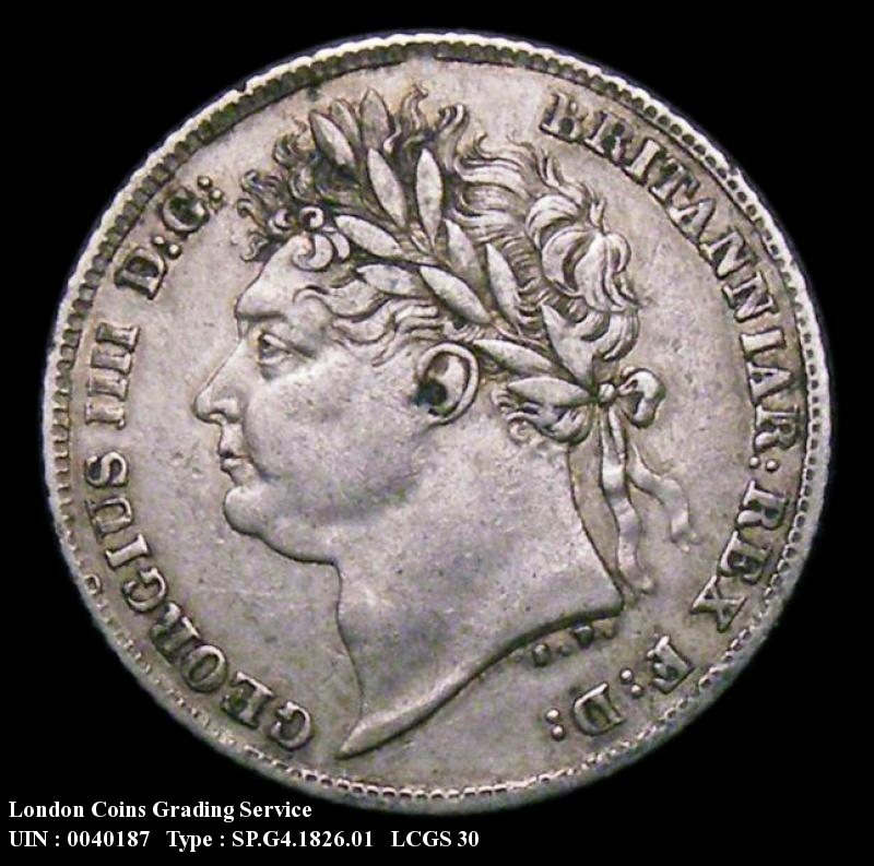 Sixpence 1826 George IV. Laureate Head, Shield Reverse - Obverse