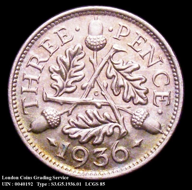 Silver 3d 1936 George V. Standard type - Reverse