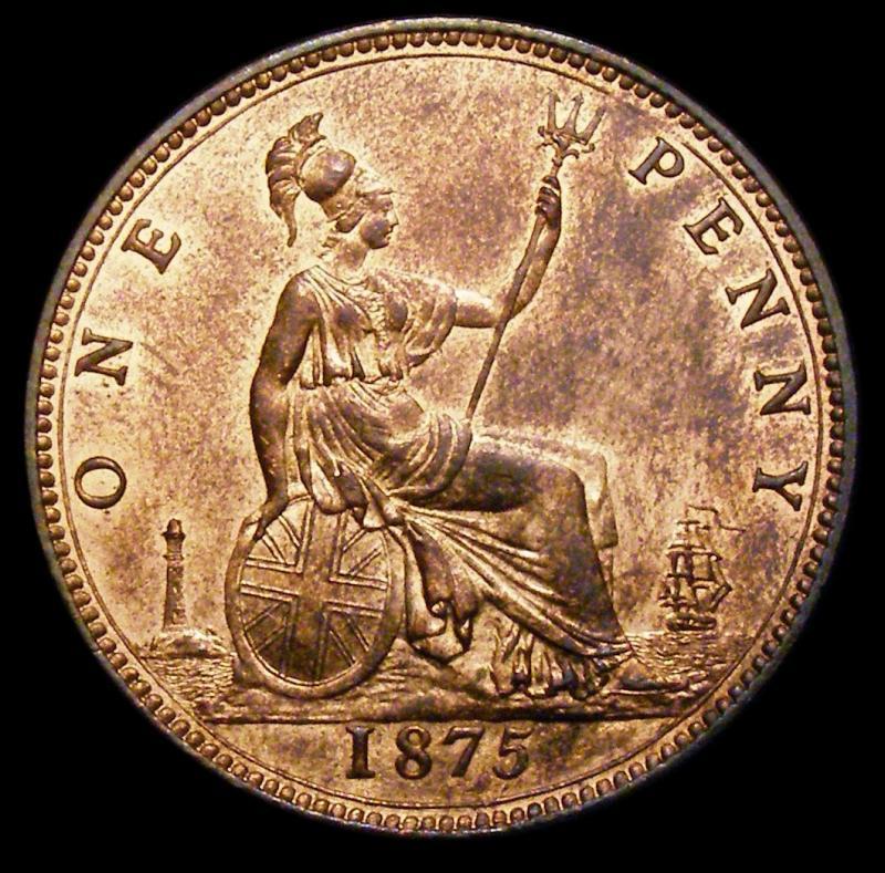 Penny 1875 Victoria. Dies 8+H - Reverse