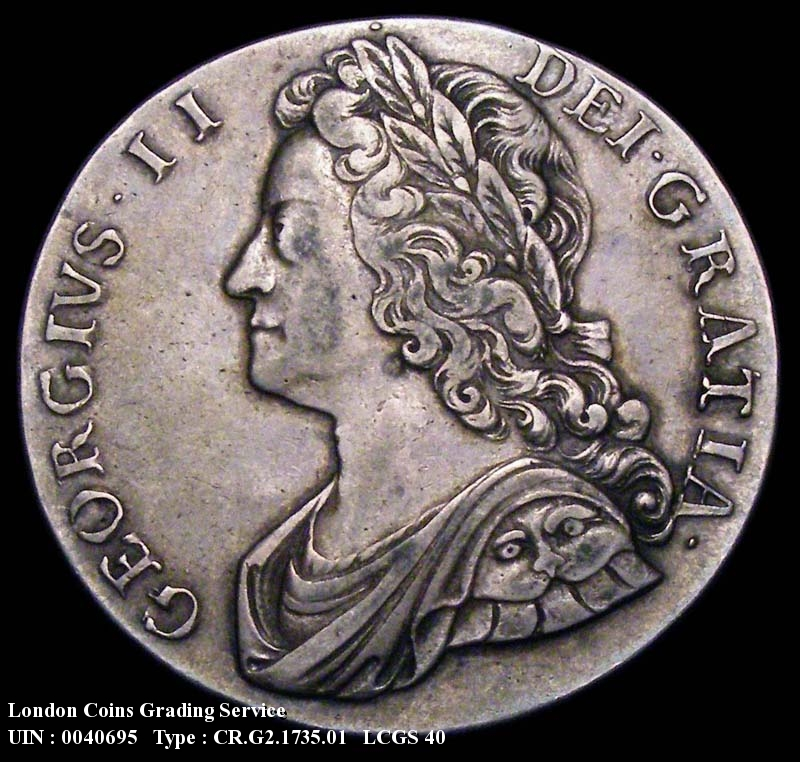 Crown 1735 George II. Roses and Plumes. OCTAVO edge - Obverse