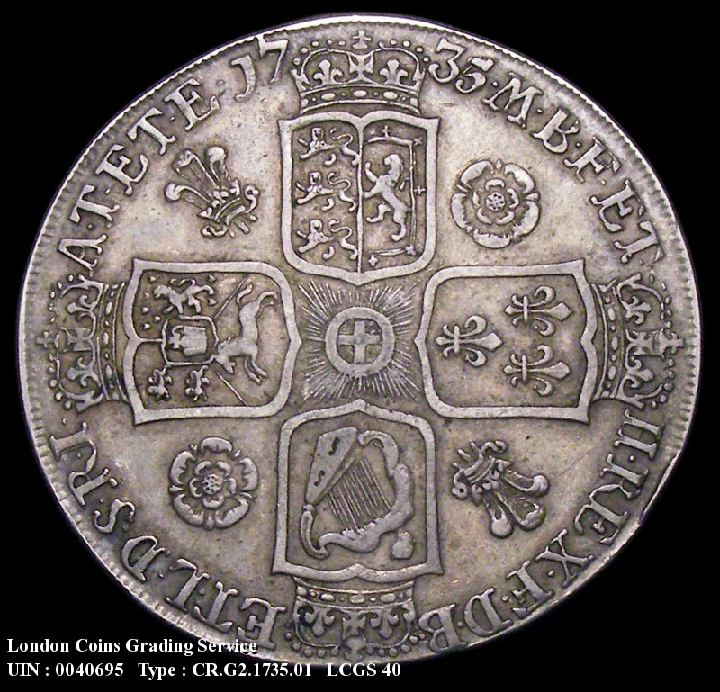 Crown 1735 George II. Roses and Plumes. OCTAVO edge - Reverse