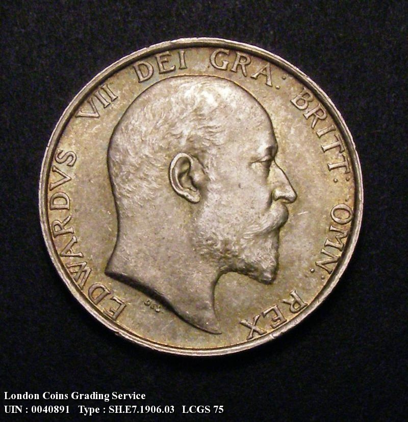 Shilling 1906 Edward VII. Gouby Obverse 2a. Obverse with R of GRA with split tail. R of EDWARDVS has a shorter tail with a clear gap to the following D - Obverse