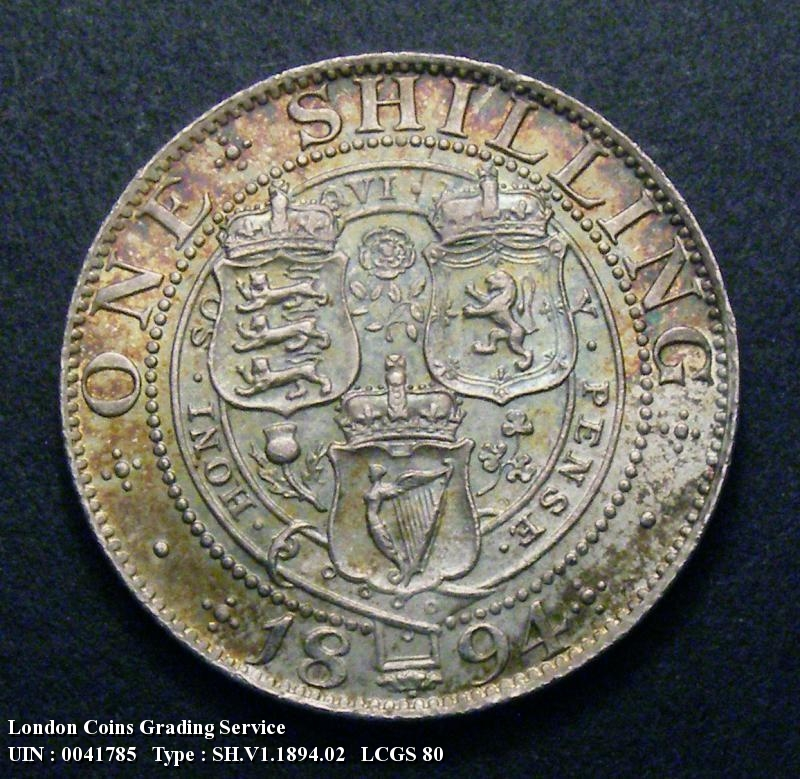 Shilling 1894 Victoria. Dies 1B - Reverse